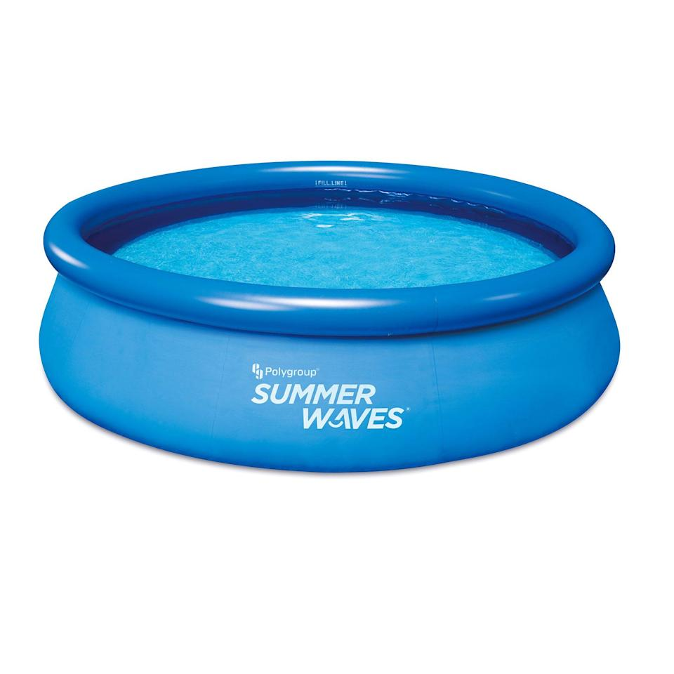 """<p><strong>Summer Waves</strong></p><p>walmart.com</p><p><strong>$146.99</strong></p><p><a href=""""https://go.redirectingat.com?id=74968X1596630&url=https%3A%2F%2Fwww.walmart.com%2Fip%2F411337587&sref=https%3A%2F%2Fwww.housebeautiful.com%2Fshopping%2Fhome-gadgets%2Fg36364619%2Fbest-above-ground-pools%2F"""" rel=""""nofollow noopener"""" target=""""_blank"""" data-ylk=""""slk:BUY NOW"""" class=""""link rapid-noclick-resp"""">BUY NOW</a></p><p>If inflatable pools are more your style, Summer Waves makes this affordable 10-foot model that couldn't be easier to use. The round pool comes with a filter pump and is made of durable, puncture-resistant material. But should a hole somehow find a way into the liner, the included repair patch will help you fix that right up.</p>"""