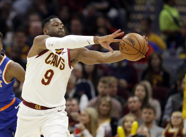 "<a class=""link rapid-noclick-resp"" href=""/nba/players/3708/"" data-ylk=""slk:Dwyane Wade"">Dwyane Wade</a> isn't getting the minutes to be a fantasy factor with the <a class=""link rapid-noclick-resp"" href=""/nba/teams/cle/"" data-ylk=""slk:Cleveland Cavaliers"">Cleveland Cavaliers</a>. (AP Photo/Tony Dejak)"