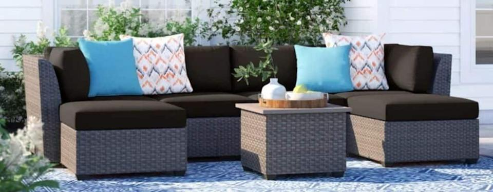 Tegan All Weather Wicker/Rattan 6 - Person Seating Group with Cushions