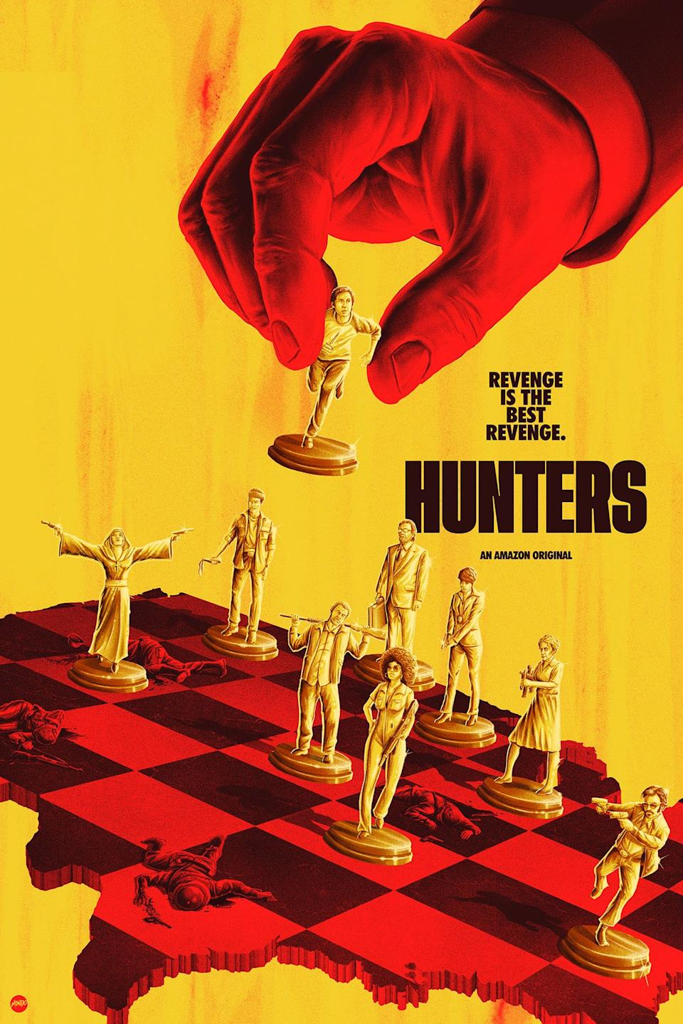 The 'death chess' scene also features in Hunters' key art. Photo: Amazon Prime.