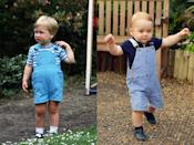 <p>Overalls are a timeless classic, so it makes sense that both William and George would be seen spotting similar looks as toddlers. On the left, William was photographed in the garden of Kensington Palace back in June of 1984, and on the right, Goerge donned pinstripe overalls while on his trip to see a butterfly exhibition at London's Natural History Museum in 2014.</p>