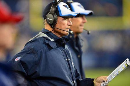 Tennessee Titans head coach Ken Whisenhunt watches his team play against the Green Bay Packers during the second half at LP Field. The Titans beat the Packers 20-16. Mandatory Credit: Don McPeak-USA TODAY Sports