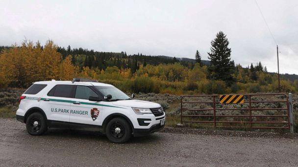 PHOTO: A U.S. Park Ranger vehicle drives in the Spread Creek area in the Bridger-Teton National Forest, just east of Grand Teton National Park off U.S. Highway 89, on Sept. 19, 2021, in Wyoming. (Amber Baesler/AP)