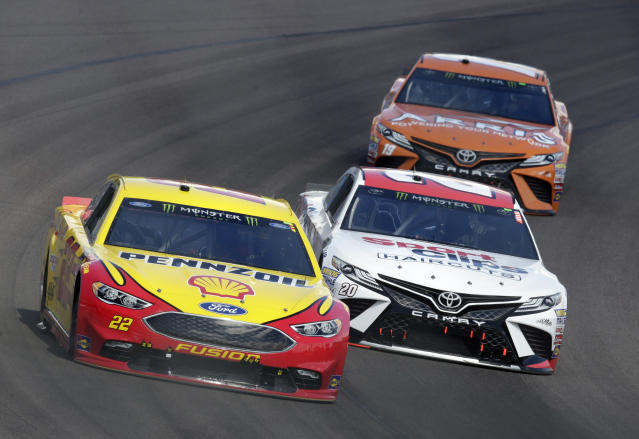 "<a class=""link rapid-noclick-resp"" href=""/nascar/sprint/drivers/1542/"" data-ylk=""slk:Joey Logano"">Joey Logano</a> hasn't won yet in 2018, but he's finished in the top-10 in eight of the first nine races of the season. (AP Photo/Rick Scuteri)"