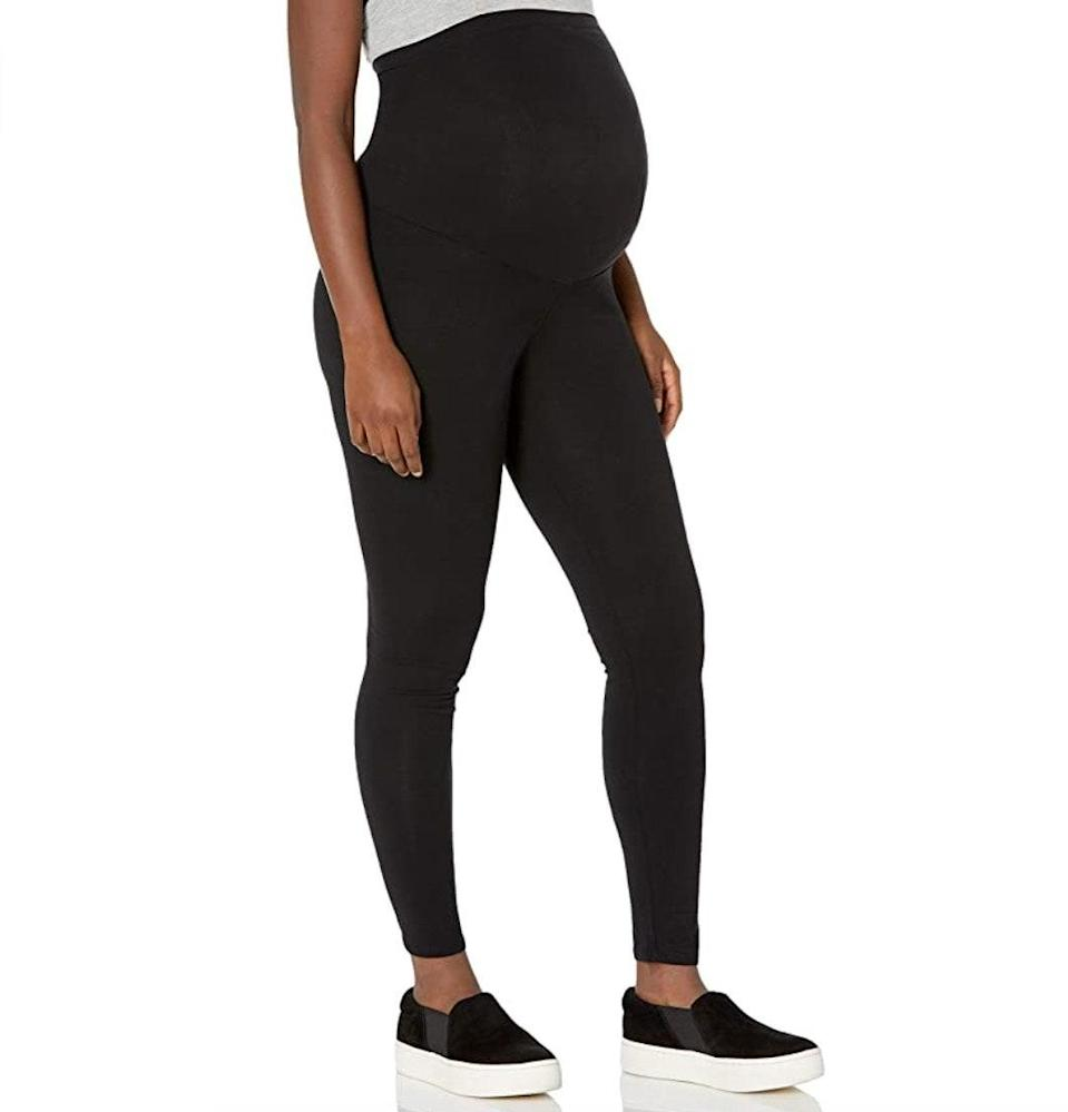 """<p><strong>Reviews & rating:</strong> 6,349 reviews, 4.4 out of 5 stars.</p> <p><strong>Key selling points:</strong> If you're looking for a comfortable and affordable pair of maternity leggings that you'll still want to wear postpartum, your search ends here. Reviewers rave about the stretchy waistband, comfy material, and complimentary fit — many even purchased a second pair.</p> <p><strong>What customers say:</strong> """"These leggings are the best. I'm not even pregnant anymore (although I am still plus-size), and these are still my favorite leggings. They don't have the annoying waist band bump that so many other pairs have. They're smoothing, comfortable, and you can't see your underwear through them. Best leggings ever."""" —<a href=""""https://amzn.to/3sjOPTX"""" rel=""""nofollow noopener"""" target=""""_blank"""" data-ylk=""""slk:Schreiber"""" class=""""link rapid-noclick-resp""""><em>Schreiber</em></a><em>, reviewer on Amazon</em></p> $18, Amazon. <a href=""""https://www.amazon.com/Motherhood-Secret-Belly-Maternity-Leggings/dp/B013WUE8LG/ref="""" rel=""""nofollow noopener"""" target=""""_blank"""" data-ylk=""""slk:Get it now!"""" class=""""link rapid-noclick-resp"""">Get it now!</a>"""