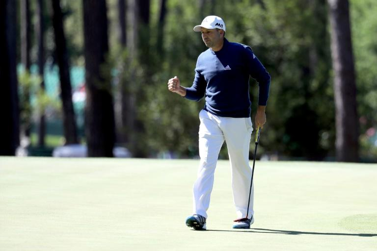 Sergio Garcia of Spain reacts during the second round of the 2017 Masters Tournament at Augusta National Golf Club on April 7, 2017 in Augusta, Georgia