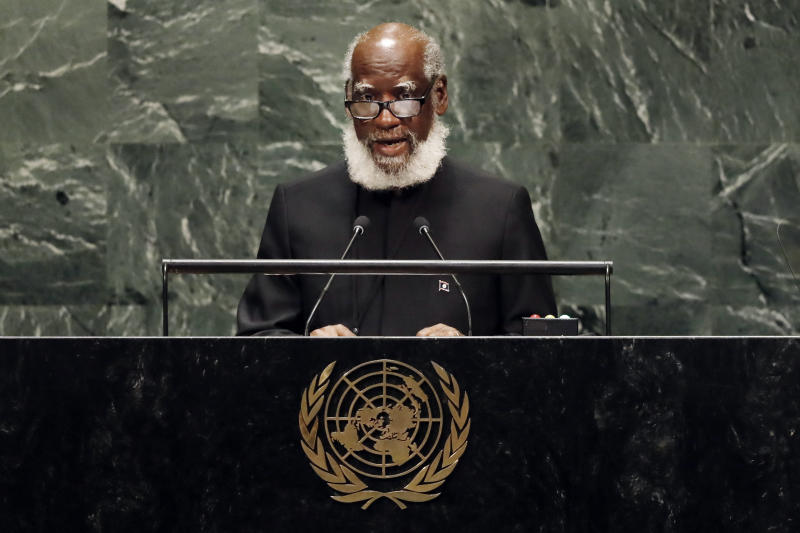 Wilfred Elrington, Attorney General and Foreign Minister of Belize, addresses the 74th session of the United Nations General Assembly, Saturday, Sept. 28, 2019. (AP Photo/Richard Drew)