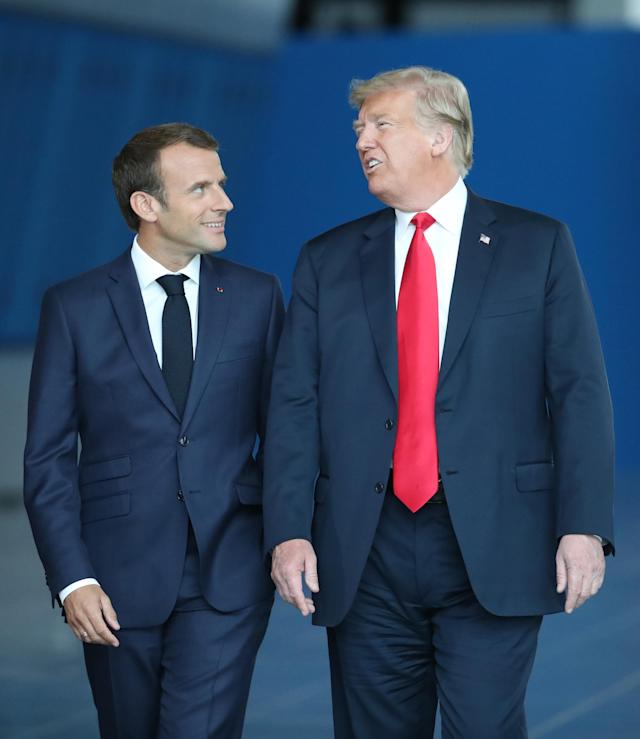 <p>France's President Emmanuel Macron arrives with President Trump for the NATO summit, at the organization's headquarters in Brussels on July 11, 2018. (Photo: Tatyana Zenkovich/pool/AFP/Getty Images) </p>