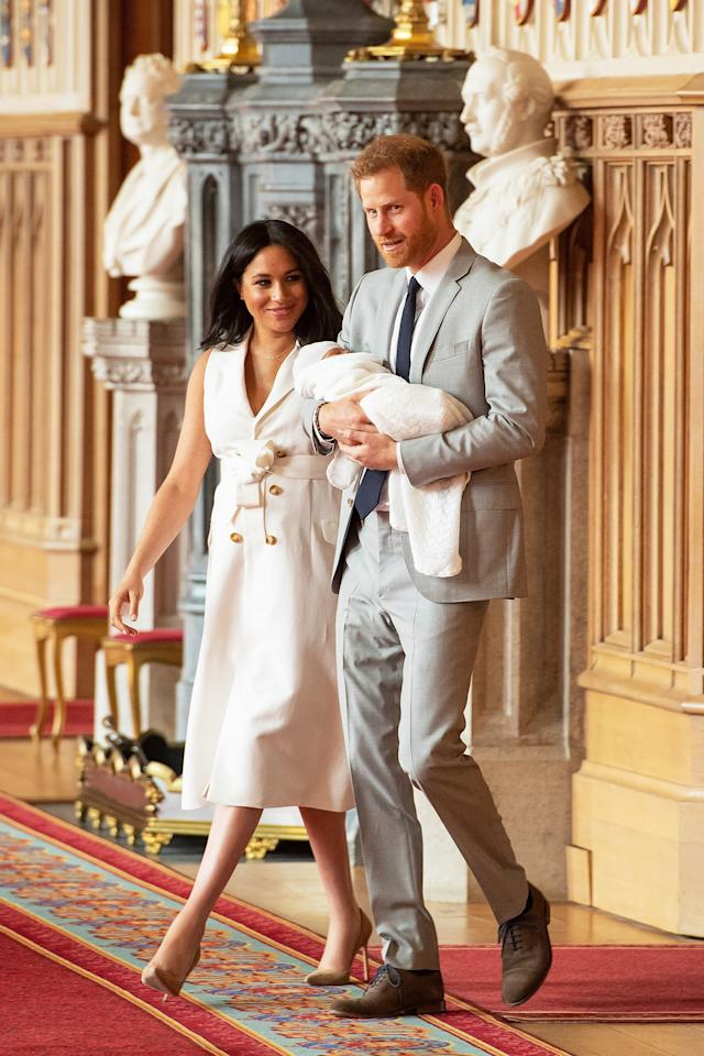 """<a href=""""https://people.com/tag/meghan-markle/"""">Meghan Markle</a>, <a href=""""https://people.com/tag/prince-harry/"""">Prince Harry</a> and <a href=""""https://people.com/tag/archie"""">Archie</a> made their debut as a family of three just two days after the baby's birth."""