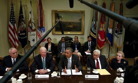 Former U.S. Secretaries of State meet with President Obama to discuss the TPP at the White House in Washington