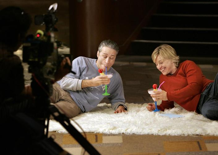 2006: Host Jon Stewart is interviewed by Ellen DeGeneres for a segment on her show on the Tuesday before the Oscars.
