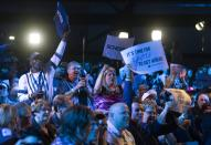 Supporters react as results from a local riding are shown at the Conservative headquarters in Regina, Monday, October 21, 2019. THE CANADIAN PRESS/Adrian Wyld