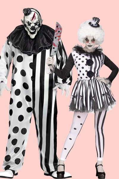 """<p>Clowns are scary enough as it is, but these black, white, and bloody costumes take things to a terrifying level. </p><p><a class=""""link rapid-noclick-resp"""" href=""""https://www.amazon.com/FunWorld-Killer-Clown-Complete-Black/dp/B00C6NEQU4/?tag=syn-yahoo-20&ascsubtag=%5Bartid%7C10055.g.33300823%5Bsrc%7Cyahoo-us"""" rel=""""nofollow noopener"""" target=""""_blank"""" data-ylk=""""slk:SHOP MEN'S COSTUME"""">SHOP MEN'S COSTUME</a></p><p><a class=""""link rapid-noclick-resp"""" href=""""https://www.amazon.com/Fun-World-Womens-Killer-Clown/dp/B07T7HRCRM/?tag=syn-yahoo-20&ascsubtag=%5Bartid%7C10055.g.33300823%5Bsrc%7Cyahoo-us"""" rel=""""nofollow noopener"""" target=""""_blank"""" data-ylk=""""slk:SHOP WOMEN'S COSTUME"""">SHOP WOMEN'S COSTUME </a></p>"""