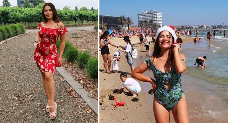 Deni Kirkova pictured left in a short red dress in the Yarra Valley and right in a blue swimsuit at an Australian beach with a Santa hat on.