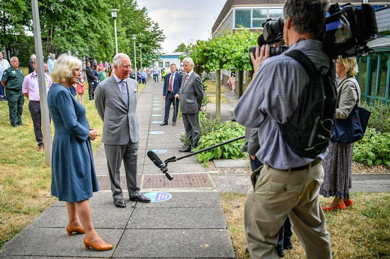 The Prince of Wales and the Duchess of Cornwall conduct a socially distanced TV interview after meeting front line key workers who who have responded to the COVID-19 pandemic during a visit to Gloucestershire Royal Hospital.