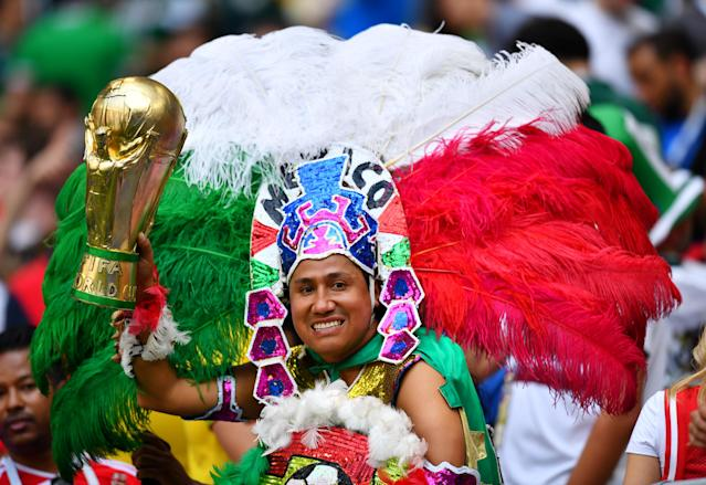 <p>Mexico fan inside the stadium before the match REUTERS/Dylan Martinez </p>