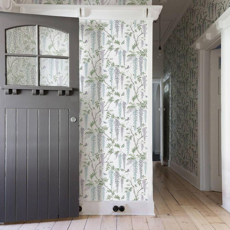 """<p>An often neglected area, despite being the first thing that we (and our guests) see upon entering our home. Wallpaper can create a warm welcome in the hallway, and even help to create the allusion of light in a dark or narrow space. Botanical prints like the Country Living Wisteria shown here can create a seamless transition from the outdoors in.</p><p>Pictured: <a href=""""https://go.redirectingat.com?id=127X1599956&url=https%3A%2F%2Fwww.homebase.co.uk%2Fcountry-living-wisteria-cottage-morning-wallpaper%2F12945381.html&sref=https%3A%2F%2Fwww.countryliving.com%2Fuk%2Fhomes-interiors%2Fg36953751%2Fwallpaper-ideas%2F"""" rel=""""nofollow noopener"""" target=""""_blank"""" data-ylk=""""slk:Country Living Wisteria"""" class=""""link rapid-noclick-resp"""">Country Living Wisteria</a>, Homebase</p>"""