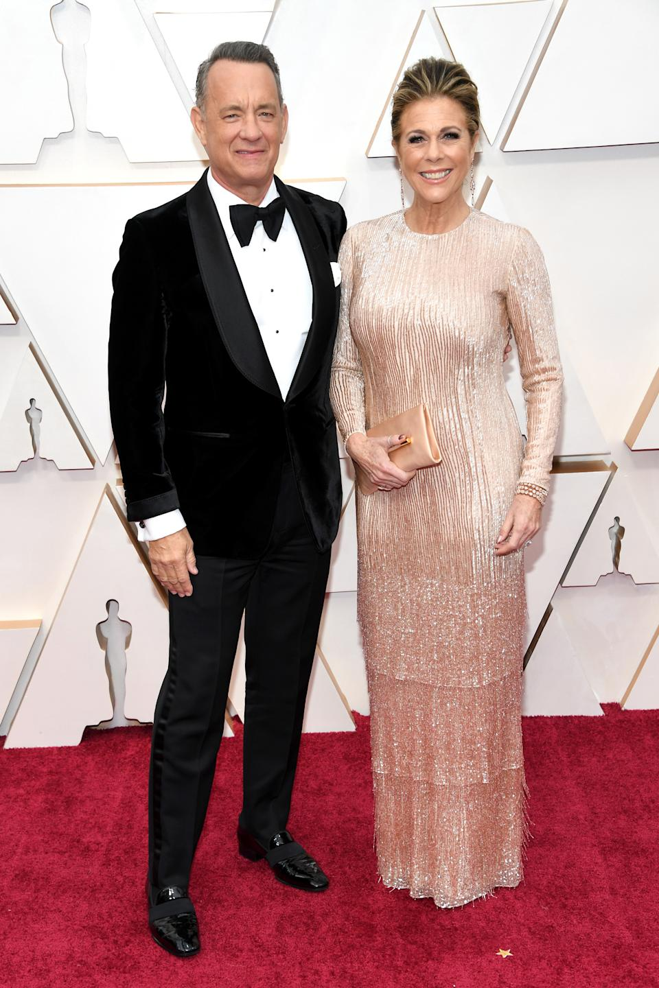 """Hanks and Wilson looked like red carpet royalty as they arrived at this year's Oscars. Hanks is nominated for Best Supporting Actor for his portrayal of Fred Rogers in """"A Beautiful Day in the Neighborhood."""""""