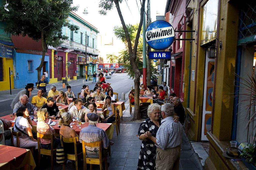 A streetside cafe in the arty La Boca precinct of Buenos Aires.