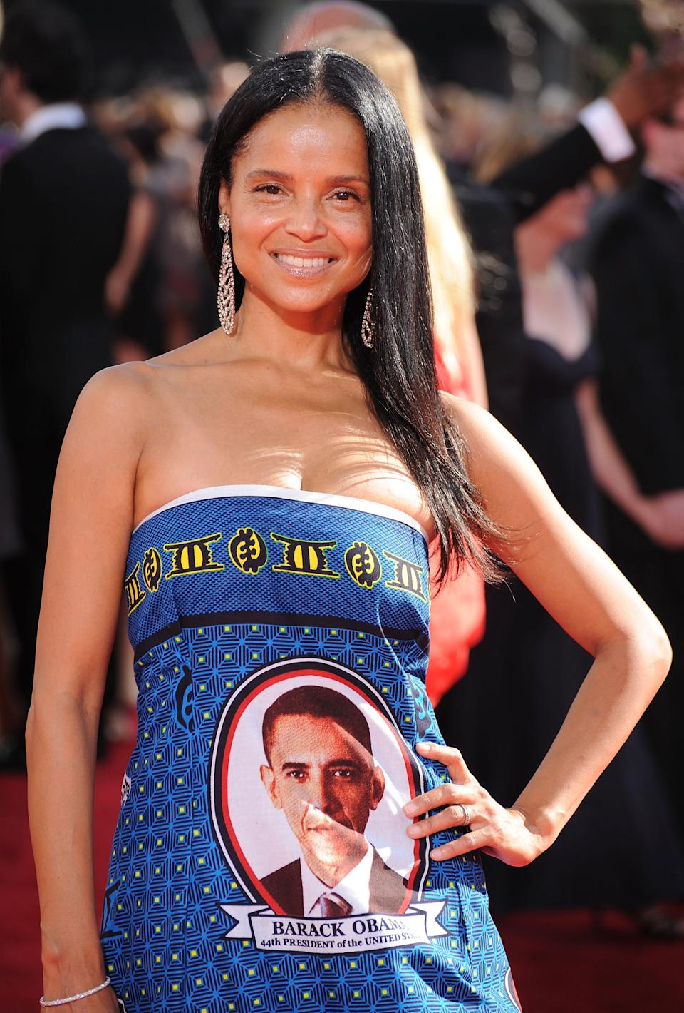 Victoria Rowell hit the Emmys red carpet in a dress honoring Barack Obama.