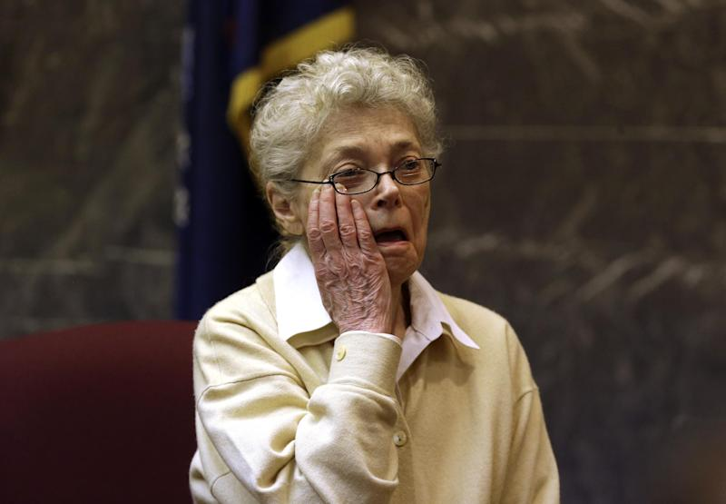 Sandra Layne begins to testify in the Oakland County Circuit Courtroom of Judge Denise Langford Morris in Pontiac, Mich., Wednesday, March 13, 2013.   Layne, 75,  is charged with first-degree murder in Oakland County court. There's no dispute she repeatedly shot 17-year-old Jonathan Hoffman last year in West Bloomfield Township, even while he called 911 for help. Layne's lawyer says she feared for her life because of Hoffman's erratic behavior and his use of synthetic marijuana. (AP Photo/Paul Sancya)