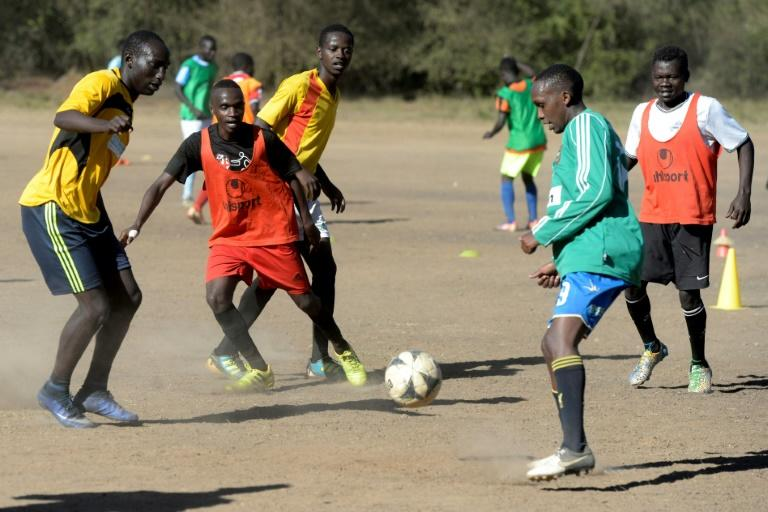 Kibera Black Stars football players during a training session, in Nairobi on January 24, 2017