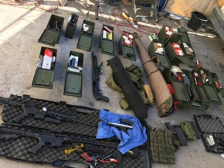Guns, ammunition and tactical gear seized by police near Los Angeles after arresting a man who threatened a mass shooting (AFP Photo/Handout)