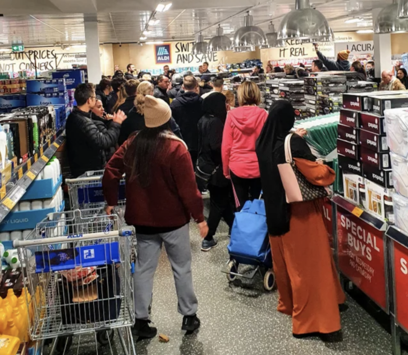 Shoppers descend on the Special Buys section of a Melbourne supermarket over the weekend. Source: Reddit/ PedGetsFed