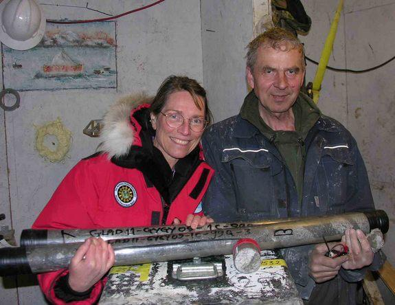 Study co-authors Julie Brigham-Grette and Pavel Minyuk collect sediment cores from Lake El'gygytgyn in the northeast Russian Arctic. These samples help scientists better understand the Arctic's climate history, dating from 2.2 million to 3.6 mi