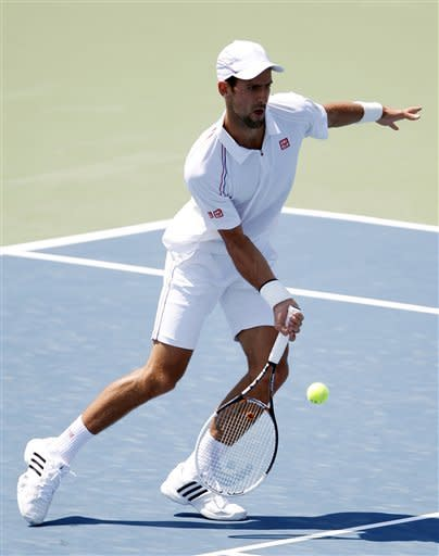 Novak Djokovic, from Serbia, hits a shot against Andreas Seppi, from Italy, at the Western & Southern Open tennis tournament, Wednesday, Aug. 15, 2012, in Mason, Ohio. (AP Photo/Frank Victores)
