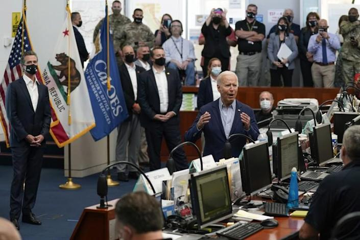 President Joe Biden speaks during a briefing on wildfires at the California Governor's Office of Emergency Services, Monday, Sept. 13, 2021, in Mather, Calif. (AP Photo/Evan Vucci)