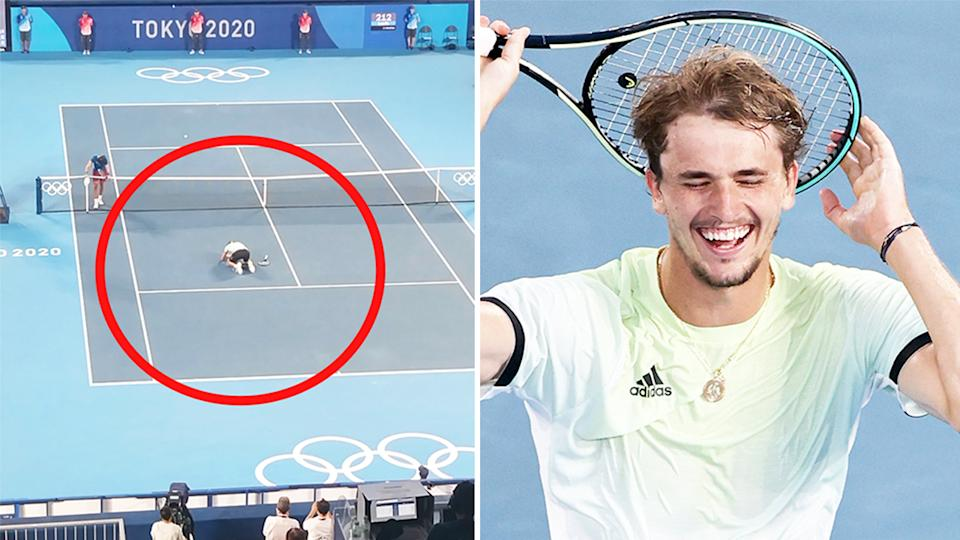 Alexander Zverev (pictured right) emotional and (pictured left) collapsing to the ground after winning Olympics gold in Tokyo.
