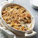 """<p>This comforting and flavorful vegetarian dish is packed with protein. <a href=""""http://www.eatingwell.com/recipe/263198/baked-penne-florentine/"""" rel=""""nofollow noopener"""" target=""""_blank"""" data-ylk=""""slk:View recipe"""" class=""""link rapid-noclick-resp""""> View recipe </a></p>"""