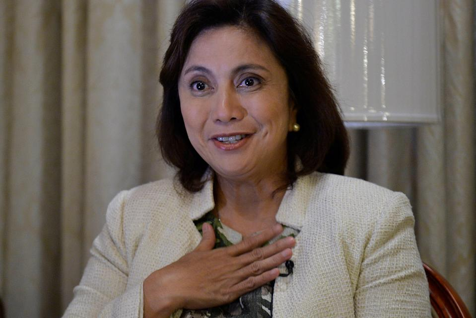 FILE PHOTO: Vice President Leni Robredo gestures while speaking during a Reuters interview, at the Quezon City Reception House, December 12, 2016. (Source: REUTERS/Ezra Acayan)