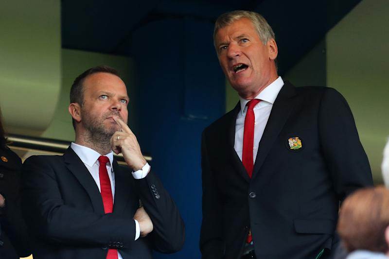 LONDON, ENGLAND - OCTOBER 20: Ed Woodward, executive vice-chairman of Manchester United with David Gill before the Premier League match between Chelsea FC and Manchester United at Stamford Bridge on October 20, 2018 in London, United Kingdom. (Photo by Ca