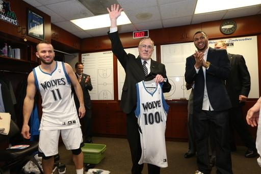 MINNEAPOLIS, MN - APRIL 6:  Rick Adelman, Head Coach of the Minnesota Timberwolves, celebrates his 1,00th career win after the game against the Detroit Pistons on April 6, 2013 at Target Center in Minneapolis, Minnesota. (Photo by David Sherman/NBAE via Getty Images)