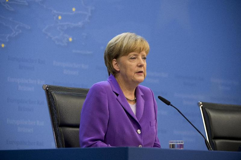 German Chancellor Angela Merkel holds a press conference as part of a European Council on June 27, 2014, in Brussels