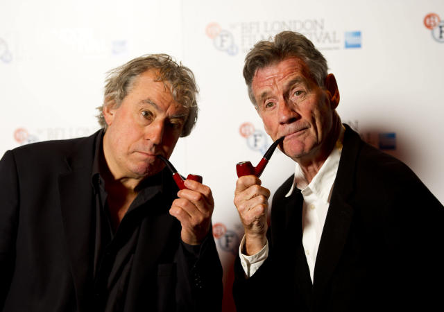 Michael Palin and Terry Jones pictured at a photocall for A Liar's Autobiography, held at the Vue Cinema, Leicester Square, as part of the BFI London Film Festival.