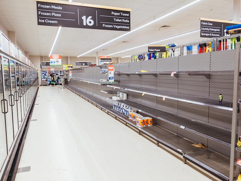 Empty shelves inside a Melbourne supermarket after coronavirus panic buying. Source: Getty Images