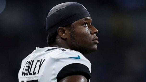 PHOTO: Jacksonville Jaguars wide receiver Chris Conley (18) during an NFL football game against the Indianapolis Colts, on Nov. 17, 2019, in Indianapolis. (Aaron Doster/AP, FILE)