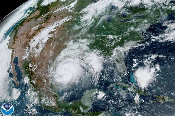A satellite image shows Hurricane Hanna in the Gulf of Mexico and approaching the coast of Texas (via REUTERS)