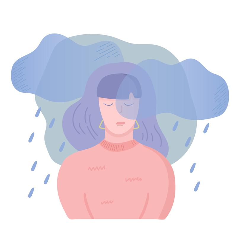 Sad unhappy girl. Depression, apathy and bad mood concept. Dark clouds and rain above the woman head. Vector illustration, cartoon flat style.