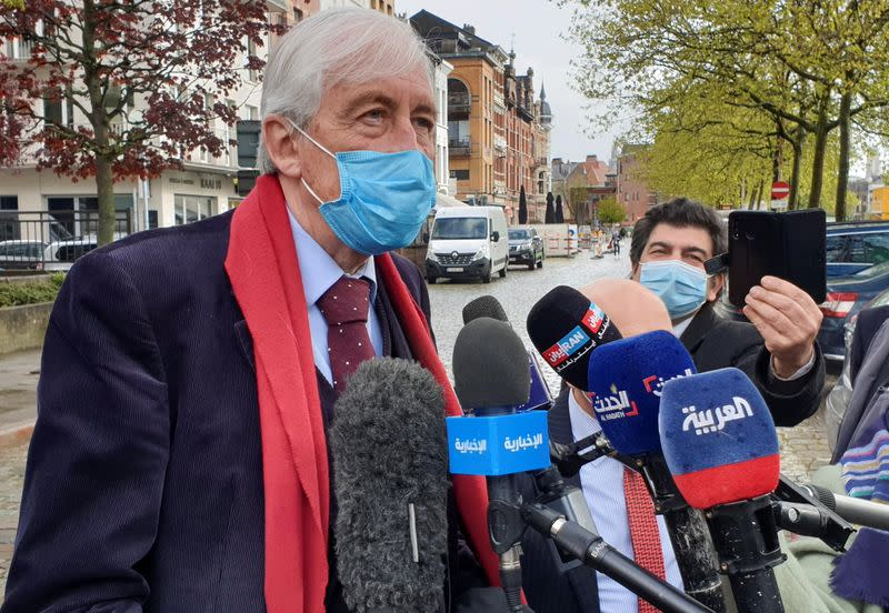 Lawyer Georges-Henri Beauthier, representing The National Council Of Resistance Of Iran (NCRI), speaks to the media outside a court building in Antwerp
