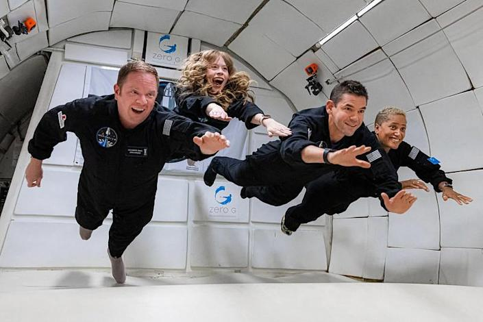 The Inspiration4 crew underwent extensive training for the three-day flight, experiencing brief periods of weightlessness during roller coaster-like parabolic flights on a modified aircraft. Left to right: Chris Sembroski, Hayley Arceneaux, Jared Isaacman and Sian Proctor. / Credit: Inspiration4