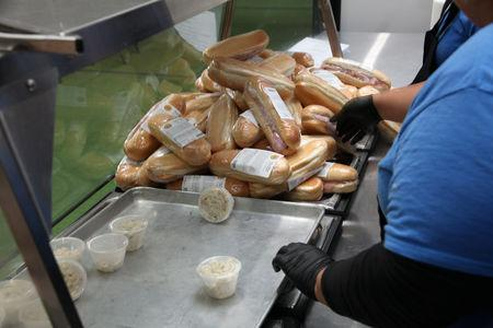 Sandwiches at a tent city set up to hold immigrant children separated from their parents or who crossed the U.S. border on their own, are seen in Tornillo, Texas, U.S., in this U.S. Department of Health and Human Services (HHS) image released on October 12, 2018.   Courtesy HHS/Handout via REUTERS