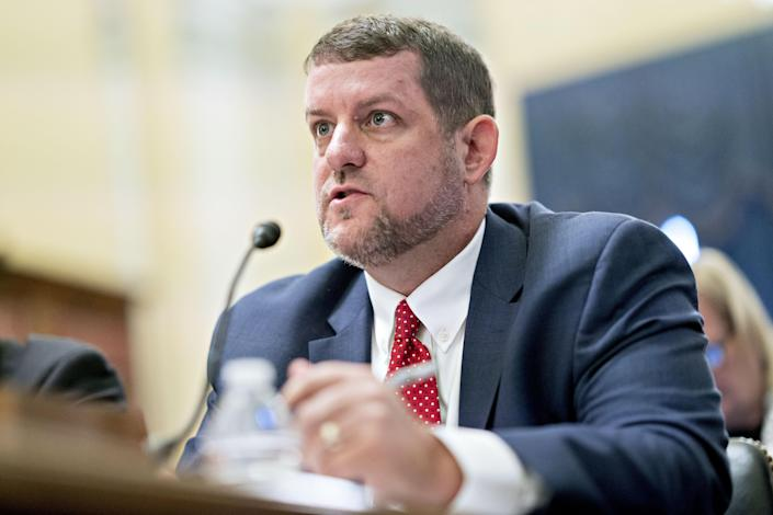 Matt Masterson, senior cybersecurity advisor with the Department of Homeland Security, speaks during a Senate Rules and Administration Committee hearing on election security in Washington in July. (Photo: Andrew Harrer/Bloomberg via Getty Images)