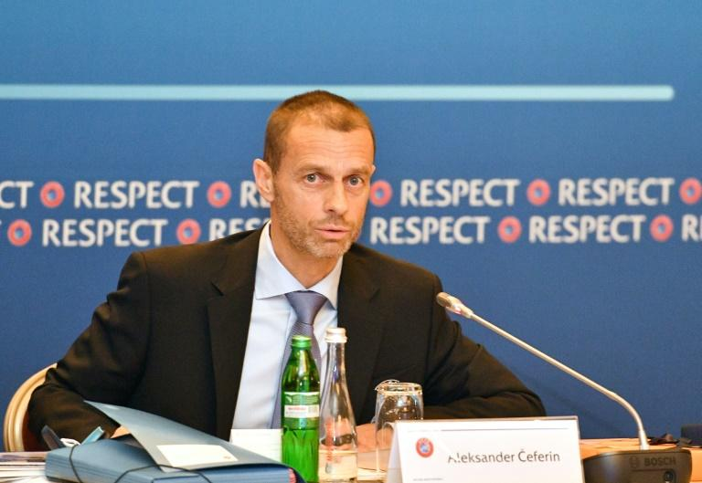 UEFA president Aleksander Ceferin speaks in Kiev on May 24, 2018