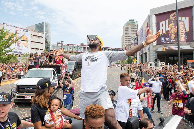3f23f5c9c4e LeBron James celebrates during the Cleveland Cavaliers  2016 NBA  championship victory parade and rally.