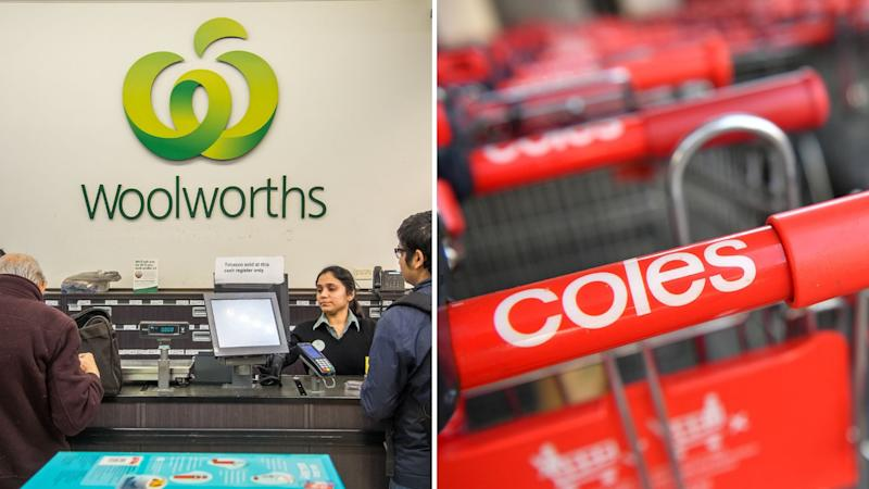 Woolworths checkout counter on left, Coles trolley on right.