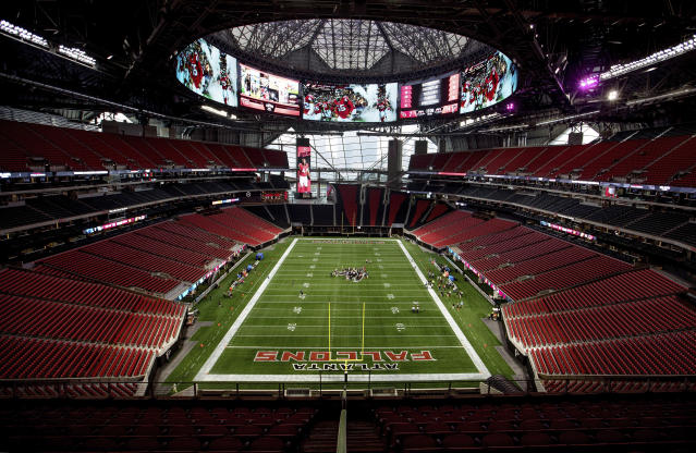 Mercedes-Benz Stadium, the relatively new home of the Atlanta Falcons, stands in Atlanta. (AP Photo/David Goldman, File)